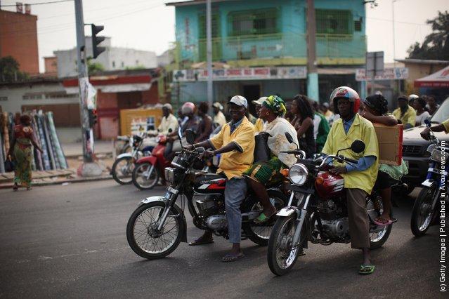 Traffic builds up at rush hour in Cotonou, Benin