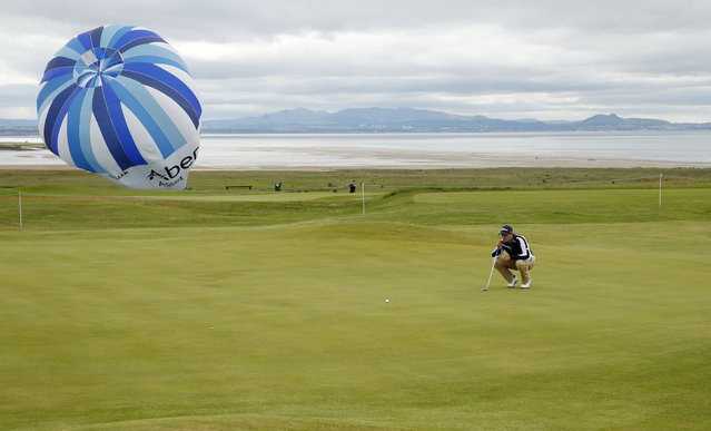 Golf, Aberdeen Asset Management Scottish Open – Gullane Golf Club, East Lothian, Scotland on  July 10, 2015: Daniel Brooks of England lines up a putt during the second round. (Photo by Lee Smith/Reuters/Action Images)