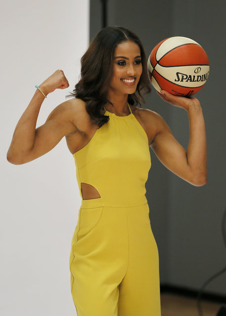 In this May 5, 2016, file photo, Dallas Wings' Skylar Diggins poses for a photo shoot during the WNBA basketball team's media day, in Arlington, Texas.  The WNBA tips off its 20th season this weekend with the return of some familiar faces and the finale for others. Diggins hopes to pick up where she left off before she was injured last year. She'll be doing it in front of a new fan base as Tulsa moved to Dallas in the offseason. (Photo by Tony Gutierrez/AP Photo)