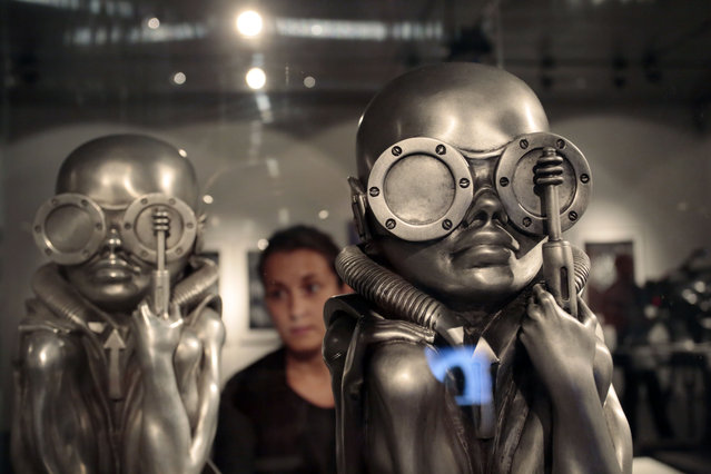 """View at sculptures by Swiss artist H.R. Giger during the opening of the Ars Electronica 2013 exhibition """"HR Giger. The Art of Biomechanics"""" in Linz, Austria, 04 September 2013. (Photo by EPA/RUBRA)"""