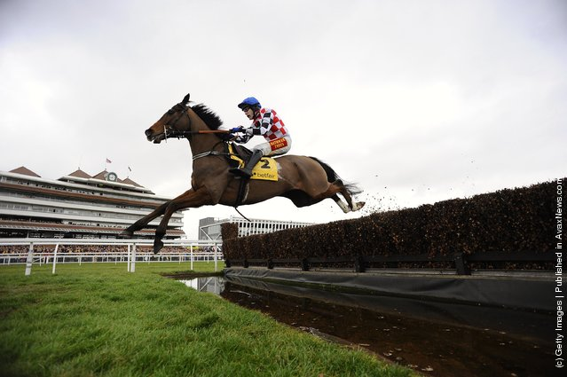 Tom Scudamore riding The Giant Bolster clear the water jump in The Betfair Denman Steeple Chase, at Newbury racecourse