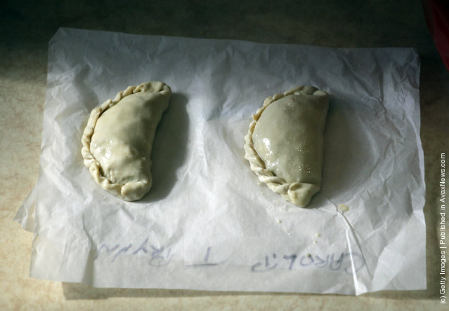 A Cornish pasty in made in a pasty making workshop as part of the World Cornish Pasty Championships at The Eden Project