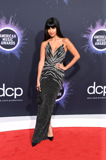 Jameela Jamil attends the 2019 American Music Awards at Microsoft Theater on November 24, 2019 in Los Angeles, California. (Photo by Steve Granitz/WireImage)