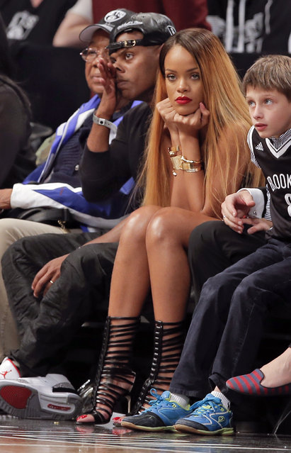 Rihanna watches the Brooklyn Nets play the Chicago Bulls in Game 7 of their Eastern Conference quarterfinals in New York, May 2013. (Photo by Ray Stubblebine/Reuters)