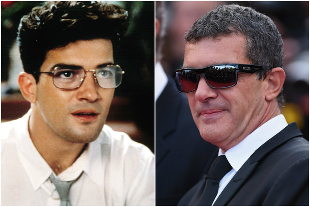 Antonio Banderas in 1988 and today. (Photo by Everett Collection/Getty Images)