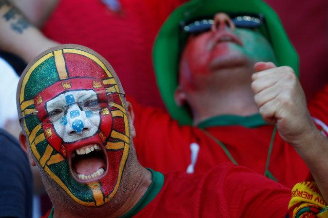 Football Soccer, Hungary vs Portugal, EURO 2016, Group F, Stade de Lyon, Lyon, France  on June 22, 2016. Portugal fan. (Photo by Kai Pfaffenbach/Reuters/Livepic)
