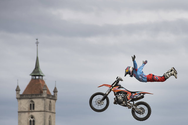 Nick Franklin, in action during the FMX competition at the 23rd edition of Free4Style this Saturday, July 2, 2016 in Estavayer-le-Lac,Switzerland. (Photo by Jean-Christophe Bott/Keystone/APA)