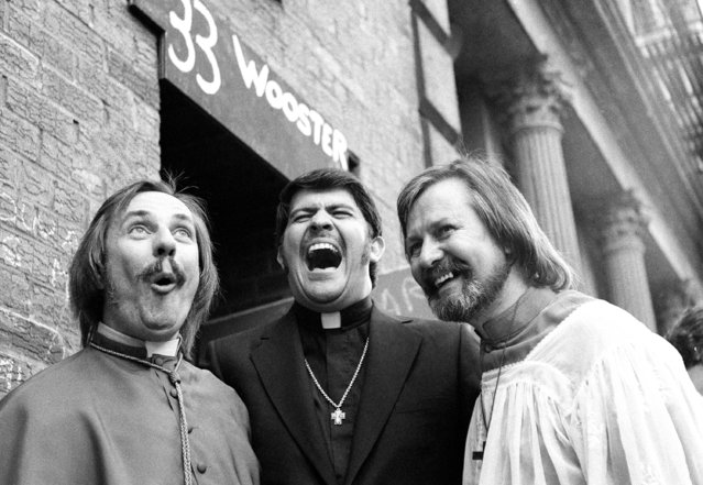 Father Troy Perry, center, who married Father Robert M. Clement, left and his partner John Noble, right, joke after the wedding at 33 Wooster Street, New York, July 18, 1971. (Photo by Ron Frehm/AP Photo)