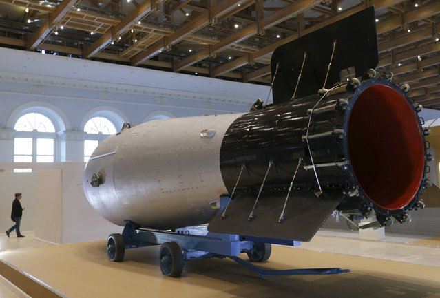 Shell, which is the replica of the biggest detonated Soviet nuclear bomb AN-602 (Tsar-Bomb), is on display in Moscow, Russia, August 31, 2015. (Photo by Maxim Zmeyev/Reuters)