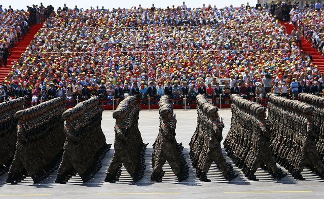 Soldiers of China's People's Liberation Army (PLA) march during the military parade to mark the 70th anniversary of the end of World War Two, in Beijing, China, September 3, 2015. (Photo by Damir Sagolj/Reuters)