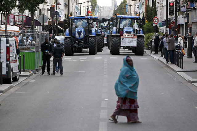 Farmers protest with their tractors in Paris, France, 03 September 2015. Thousands of farmers and tractors are demonstrating in the street of Paris today to protest against the decrease of their incomes and the increasing instability they are facing. (Photo by Yoan Valat/EPA)