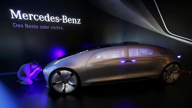The Mercedes-Benz F 015 Luxury in Motion concept car is pictured at the booth of Mercedes-Benz during the media day at the Frankfurt Motor Show (IAA) in Frankfurt, Germany, September 14, 2015. (Photo by Ralph Orlowski/Reuters)