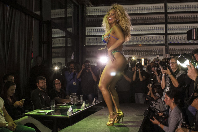 Erika Canela (C) of Bahia state poses as part of the Miss Bumbum 2016 contest which elects the woman with the best looking derriere in Brazil, on November 09, 2016 in Sao Paulo, Brazil. (Photo by Daia Oliver/Brazil Photo Press/LatinContent/Getty Images)