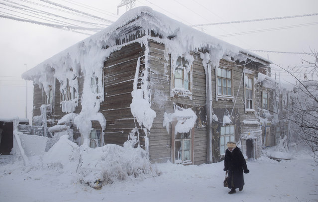 Yakutsk, with a population of around 270,000, holds its own title: that of the coldest city on Earth. Here: Frost-encrusted house in the city centre. (Photo by Amos Chapple/Courtesy Images/RFE/RL)