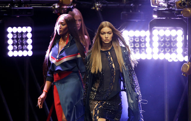 Models Gigi Hadid and Naomi Campbell present creations at the Versace fashion show during Milan Fashion Week Spring/Summer 2017 in Milan, Italy, September 23, 2016. (Photo by Max Rossi/Reuters)