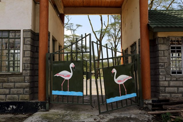 The former main gate, damaged by flooding in 2010, is seen at Lake Nakuru National Park, Kenya, August 18, 2015. (Photo by Joe Penney/Reuters)
