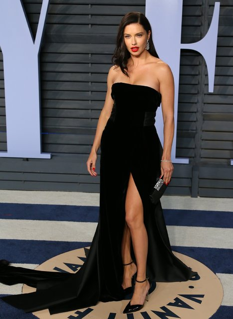 Adriana Lima attends the 2018 Vanity Fair Oscar Party following the 90th Academy Awards at The Wallis Annenberg Center for the Performing Arts in Beverly Hills, California, on March 4, 2018. (Photo by Jean-Baptiste Lacroix/AFP Photo)