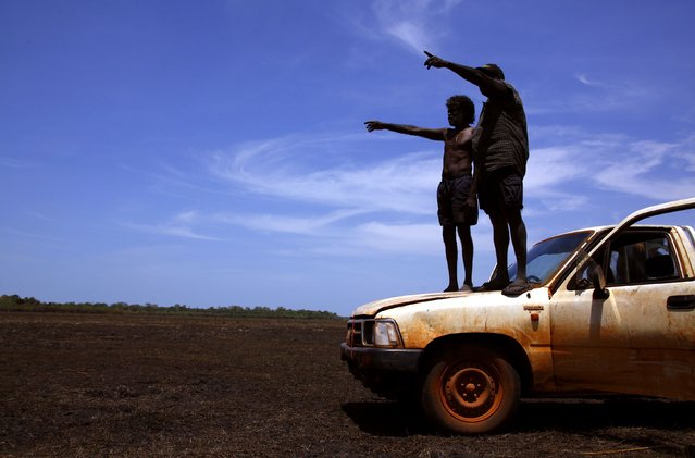 """Australian Aboriginal hunters Bruce (L) and Robert Gaykamangu of the Yolngu people stand on the bonnet of their car looking for potential prey at a billabong near the """"out station"""" of Ngangalala, located on the outksirts of the community of Ramingining in East Arnhem Land November 23, 2014. (Photo by David Gray/Reuters)"""