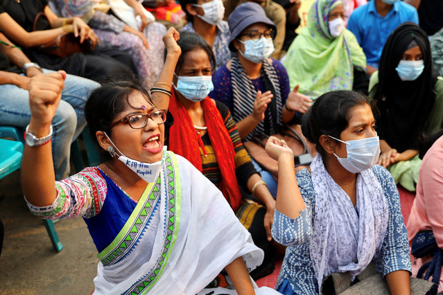 Students and activists take part in an ongoing protest demanding justice for an alleged gang rape of a woman in Noakhali, southern district of Bangladesh, amid the coronavirus disease (COVID-19) outbreak in Dhaka, Bangladesh, October 9, 2020. (Photo by Mohammad Ponir Hossain/Reuters)