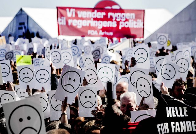 Danish Prime Minister Helle Thorning-Schmidt is met with strong protests during her May Day speech in Aarhus, Denmark. (Photo by Daniel Hjort)