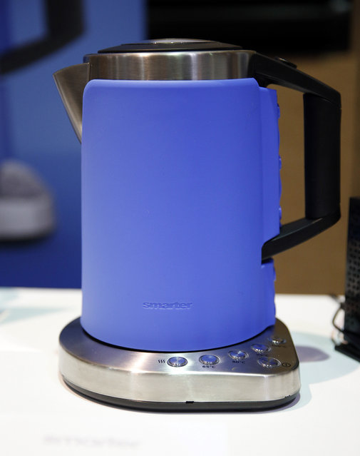 The Smarter iKettle is on display at CES Unveiled, a media preview event for CES International, Sunday, January 4, 2015, in Las Vegas. The kettle can be controlled by a smartphone or tablet. (Photo by John Locher/AP Photo)
