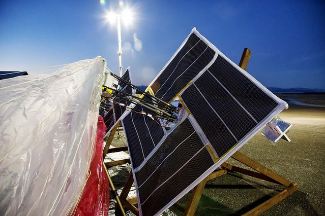 Solar panels and electronics are prepared for launch in Tekapo, New Zealand. (Photo by Andrea Dunlap/Google)