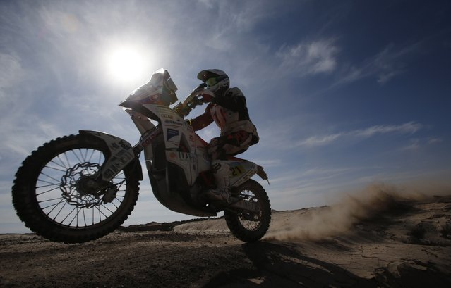 KTM rider Ivan Jakes of Slovakia rides during the sixth stage of the Dakar Rally 2015, from Antofagasta to Iquique, January 9, 2015. (Photo by Jean-Paul Pelissier/Reuters)