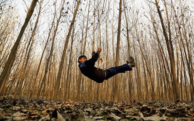 A Kashmiri boy plays on a swing in Srinagar, India, Thursday, January 15, 2015. Set in the Himalayas at 5,600 feet above sea level, Kashmir is a green, saucer-shaped valley surrounded by snowy mountain ranges with over 100 lakes dotting its highlands and plains. (Photo by Mukhtar Khan/AP Photo)