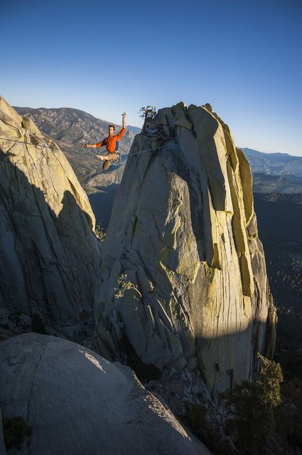 """Scott Turpin, 35, walks between """"The Needles"""" in Sequoia National Forest, California, on August 26, 2013. (Photo by Jeremiah Watt/Barcroft India)"""