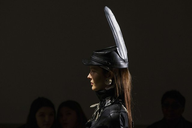 A model takes part in rehearsals before a presentation of the KTZ Fall/Winter 2015 collection during New York Fashion Week, February 17, 2015. (Photo by Lucas Jackson/Reuters)