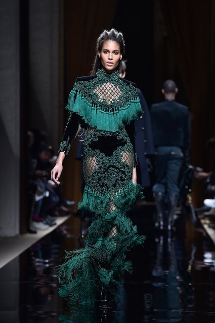 A model walks the runway during the Balmain Menswear Fall/Winter 2016-2017 show as part of Paris Fashion Week on January 23, 2016 in Paris, France. (Photo by Pascal Le Segretain/Getty Images)