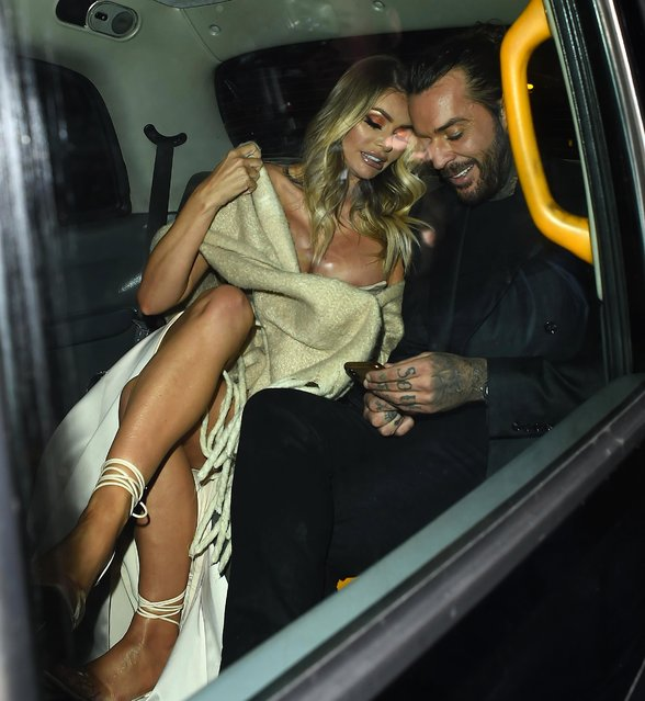 Pete Wicks and Chloe Sims seen leaving Pride of Britain Awards held at Grosvenor House on October 29, 2018 in London, England. (Photo by Splash News and Pictures)