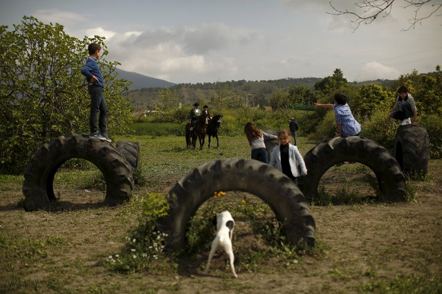 Children play on tractor tires in a field while Andalusian horseriders ride their thoroughbred horses after taking part in a classical dressage contest during the Sacab Andalusian Horse Show in Coin, southern Spain, April 12, 2015. (Photo by Jon Nazca/Reuters)