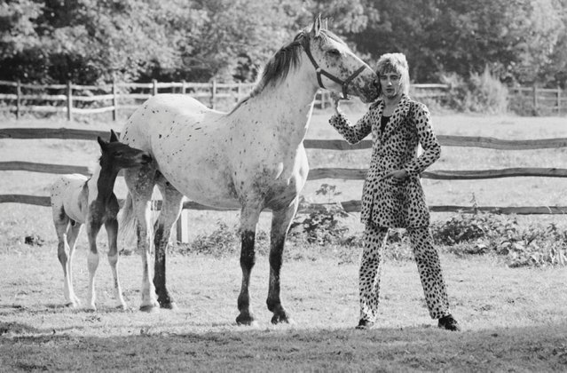 Rod Stewart, 1971. Music legend Rod Stewart got up close and personal with his four-legged friends, a horse and foal, while at his home in Old Windsor with Terry O'Neill in 1971. (Photo by Terry O'Neill)