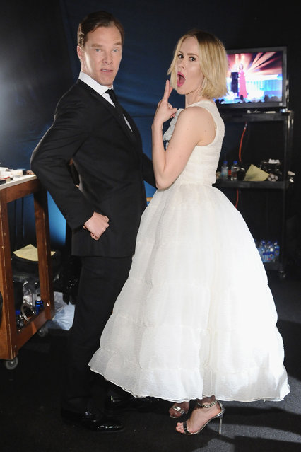 Actors Benedict Cumberbatch (L) and Sarah Paulson attend the 20th Annual Screen Actors Guild Awards at The Shrine Auditorium on January 18, 2014 in Los Angeles, California. (Photo by Stefanie Keenan/WireImage)