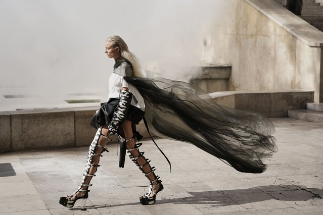 A model wears a creation for Rick Owens' Spring-Summer 2022 ready-to-wear fashion show presented Thursday, September 30, 2021, in Paris. (Photo by Thibault Camus/AP Photo)