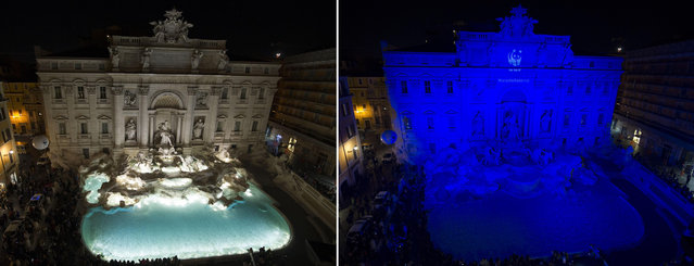 In this two-picture combo, the Trevi fountain is seen at left with its light on, and at right with its lights off, on the occasion of the 10th annual Earth Hour, in Rome, Saturday, March 19, 2016. In several Italian cities officials switched off lights normally illuminating major monuments in a global movement dedicated to protecting the planet and highlighting the effects of climate change. (Photo by Giorgio Onorati/ANSA via AP Photo)