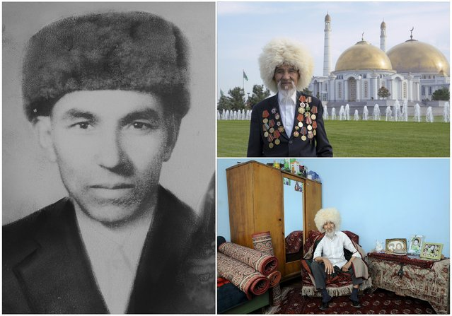 World War Two veteran Guwanch Myratlyev, 89, is seen in an undated handout picture (L), posing in front of the Turkmenbashi Ruhy Mosque in Ashgabat (Top R) and at home in Turkmenistan April 2015. Myratlyev served as a sailor in the Baltic fleet of the Soviet Union forces from February 1944 until 1950. Originally from Turkmenistan, the end of World War Two found him in the German town of Koenigsberg. (Photo by Aman Mehinli/Reuters/Family handout (L))