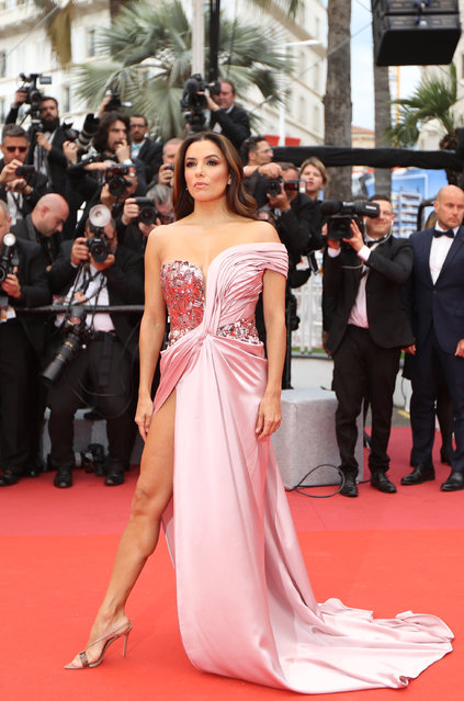 "US actress Eva Longoria poses as she arrives for the screening of the film ""The Dead Don't Die"" during the 72nd edition of the Cannes Film Festival in Cannes, southern France, on May 14, 2019. (Photo by Valery Hache/AFP Photo)"