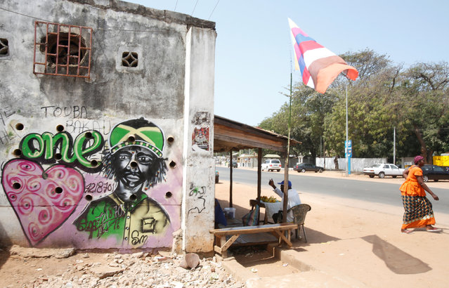 Graffiti is seen on a street in Bakau, Gambia February 20, 2017. (Photo by Thierry Gouegnon/Reuters)