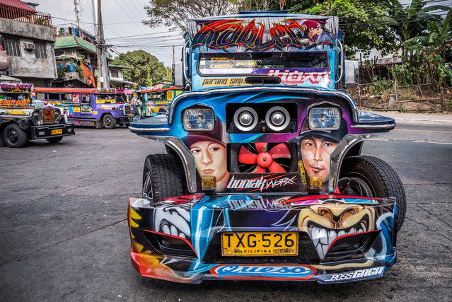 """""""Patok jeepneys"""" are equipped with high powered sound systems, attractive stickers and airbrush designs, high speed engines and good body design. (Photo by Claudio Sieber/Barcroft Media)"""