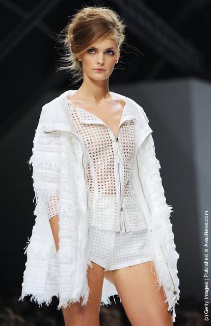 A model walks the runway at the Ermanno Scervino Spring/Summer 2012 fashion show as part Milan Womenswear Fashion Week