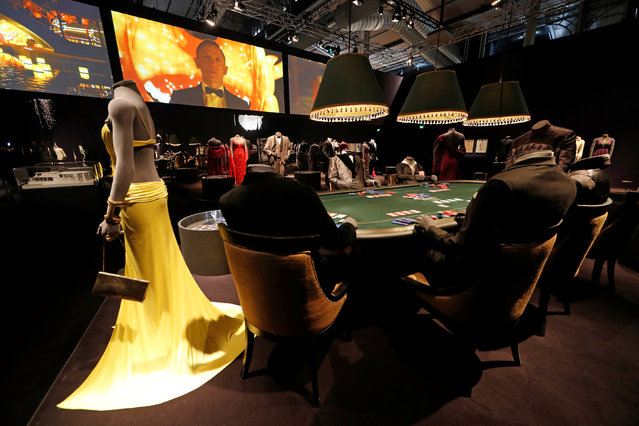 """A view shows the exhibition """"The Designing 007: Fifty Years of Bond Style"""" during a press presentation at the Grande Halle de la Villette in Paris, France, April 13, 2016. (Photo by Benoit Tessier/Reuters)"""