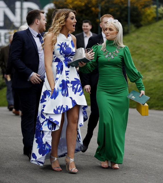 Racegoers during the Grand National Festival at Aintree Racecourse on April 6, 2017 in Liverpool, England. (Photo by Phil Noble/Reuters/Livepic)