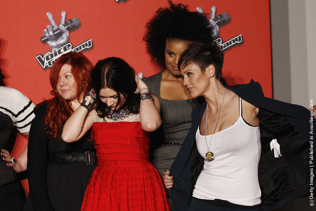 Talents Yasmina Hunzinger, Lisa Martine Weller, Kim Sanders and Sharron Levy pose during a photocall to the TV show The Voice of Germany