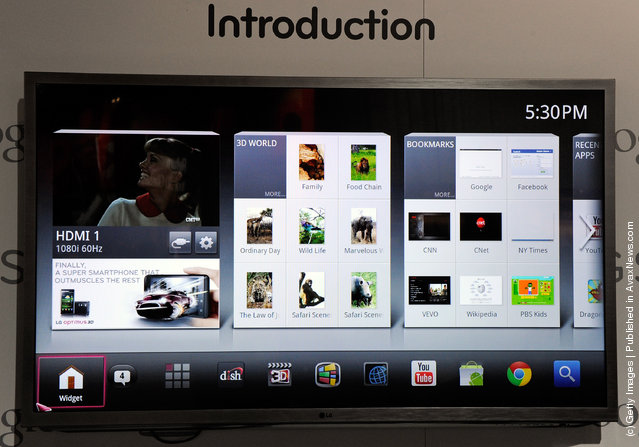 A G6 series LG Smart TV with Google TV is displayed at the LG Electronics booth at the 2012 International Consumer Electronics Show