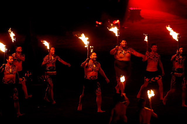 A maori cultural performance and laser light show opens the World Masters Games Opening Ceremony at Eden Park on April 21, 2017 in Auckland, New Zealand.  THE World Masters Games 2017 is a 10-day festival of sport featuring 28,000 participants from around the world. (Photo by Phil Walter/Getty Images for Tourism New Zealand)