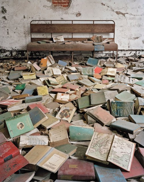 Classroom Books, North Brother Island, New York. After WWII it provided a temporary home for veterans, and from the 1950s it was used as a juvenile drug treatment center until its closure in 1963. (Photo by Christopher Payne)
