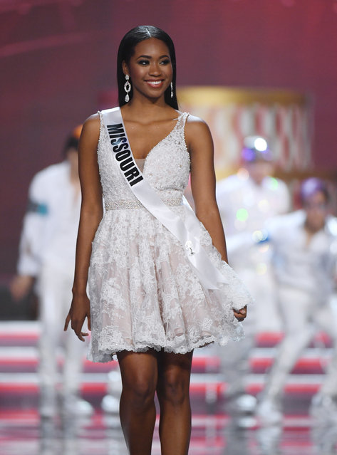 Miss Missouri USA 2017 Bayleigh Dayton is introduced during the 2017 Miss USA pageant at the Mandalay Bay Events Center on May 14, 2017 in Las Vegas, Nevada. (Photo by Ethan Miller/Getty Images)