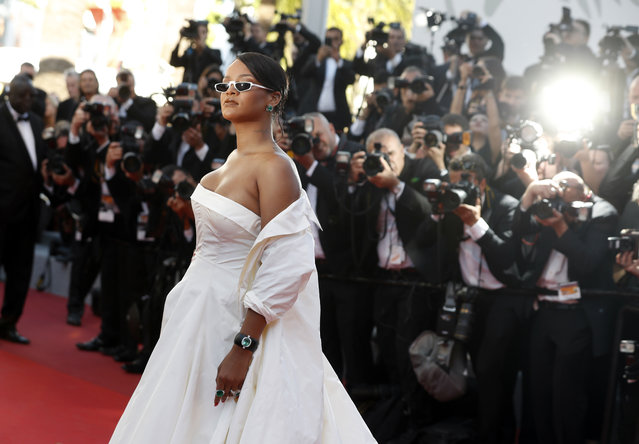 Singer Rihanna poses for photographers upon arrival at the screening of the film Okja at the 70th international film festival, Cannes, southern France, Friday, May 19, 2017. (Photo by Thibault Camus/AP Photo)